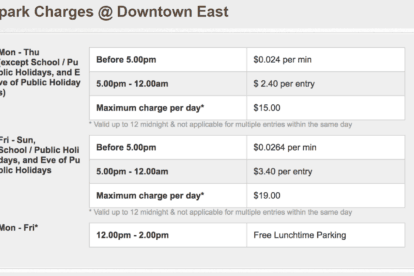 Carpark Charges @ Downtown East