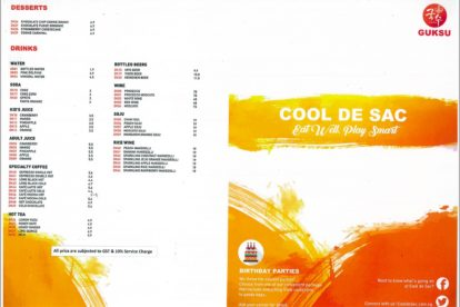 Cool de Sac - Food Menu 1