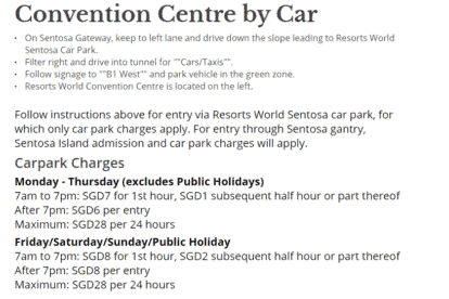 Resorts World Convention Centre Car Parking Rates